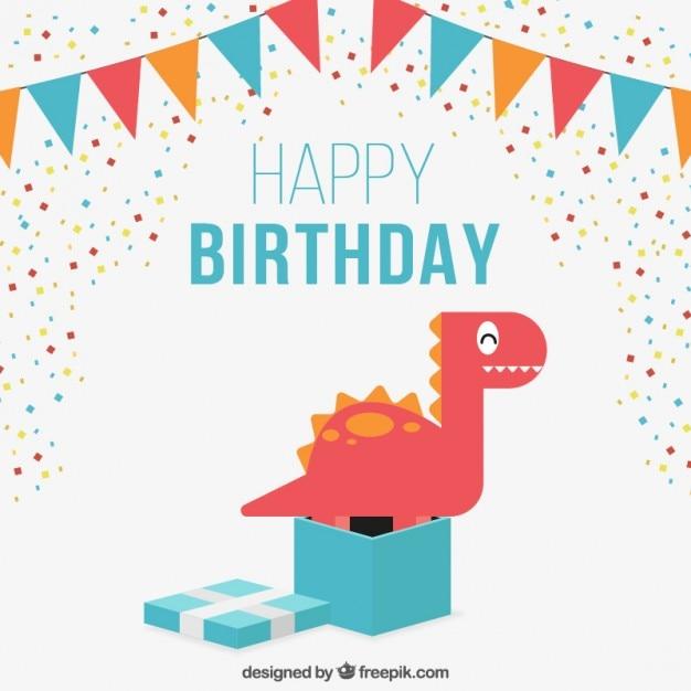 leuke verjaardagskaart met een mooie dinosaurus vector gratis download