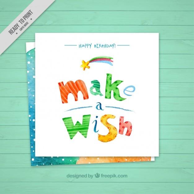Leuke verjaardagskaart van een wens Gratis Vector