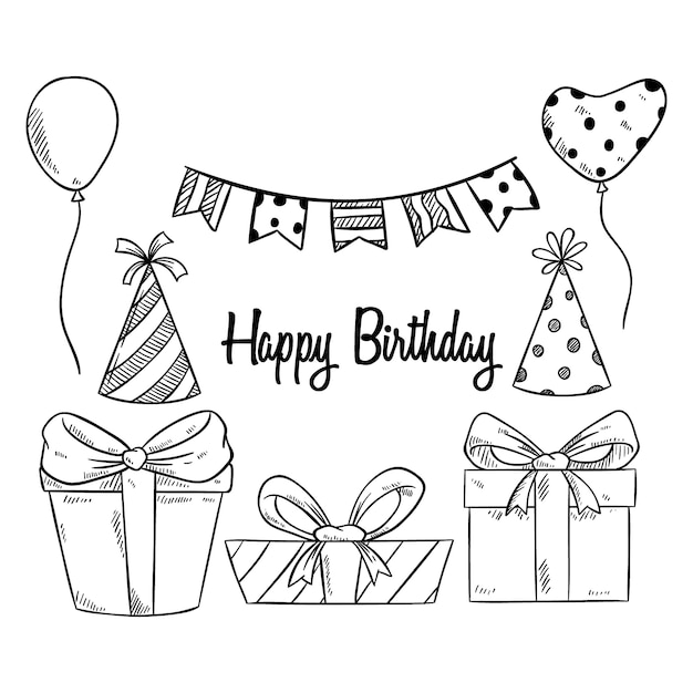 Leuke verjaardagspartij elementen met schetsmatige of met de hand getekende stijl Premium Vector
