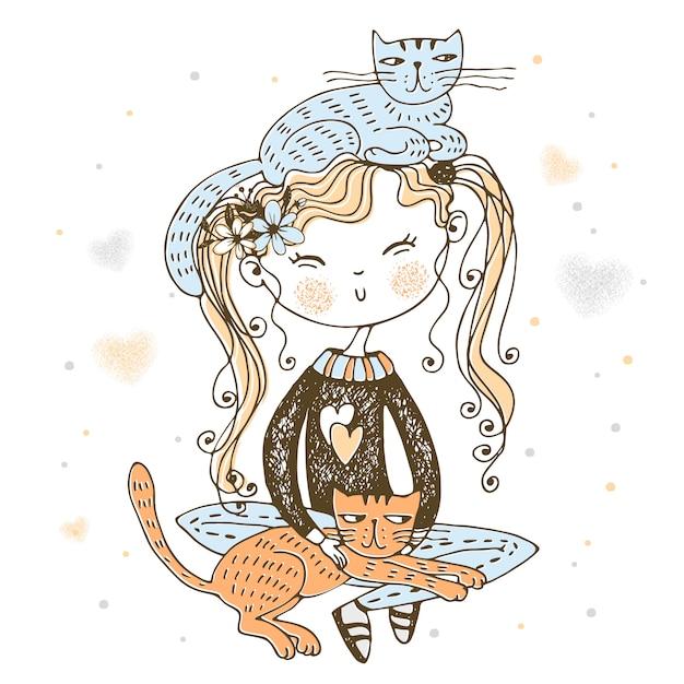 Leuke verwaande meisjeszitting met hun illustratie van huisdierenkatten Premium Vector