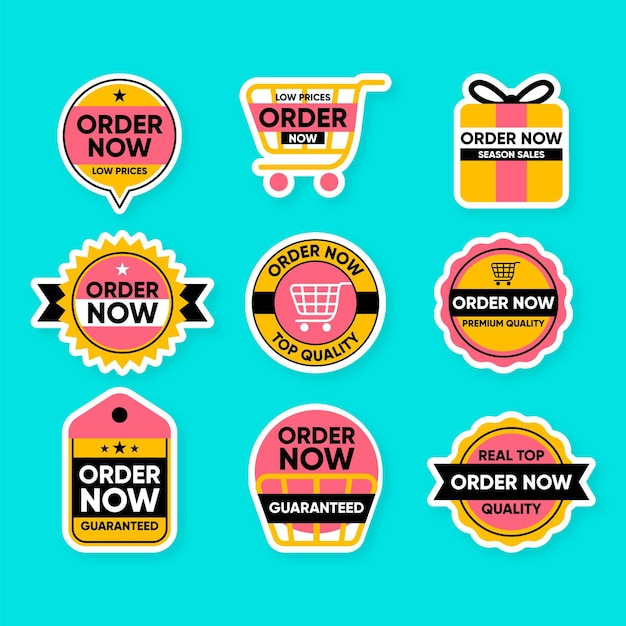 Leuke verzameling bestel nu stickers Premium Vector