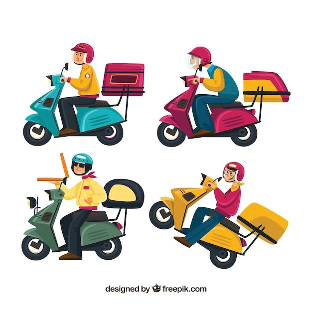 Leuke verzameling van bezorgers op scooter Gratis Vector