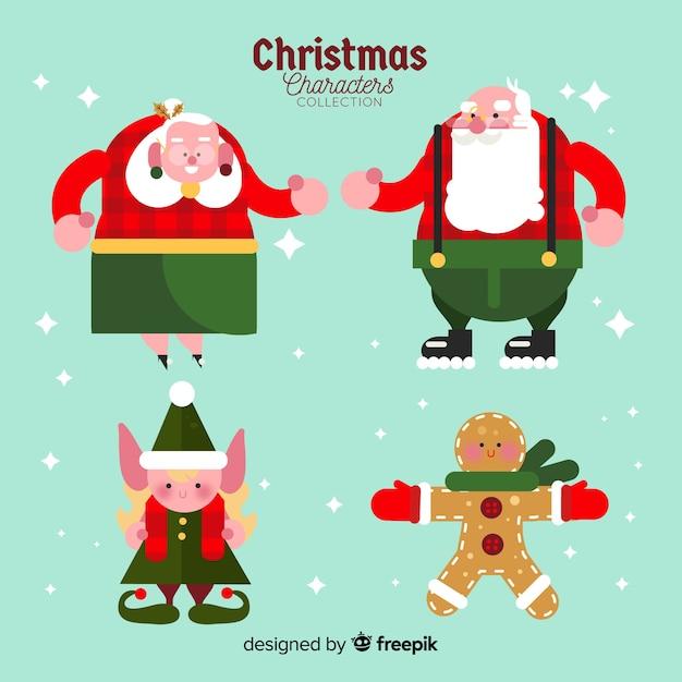 Leuke verzameling van kerstmis in plat design Gratis Vector