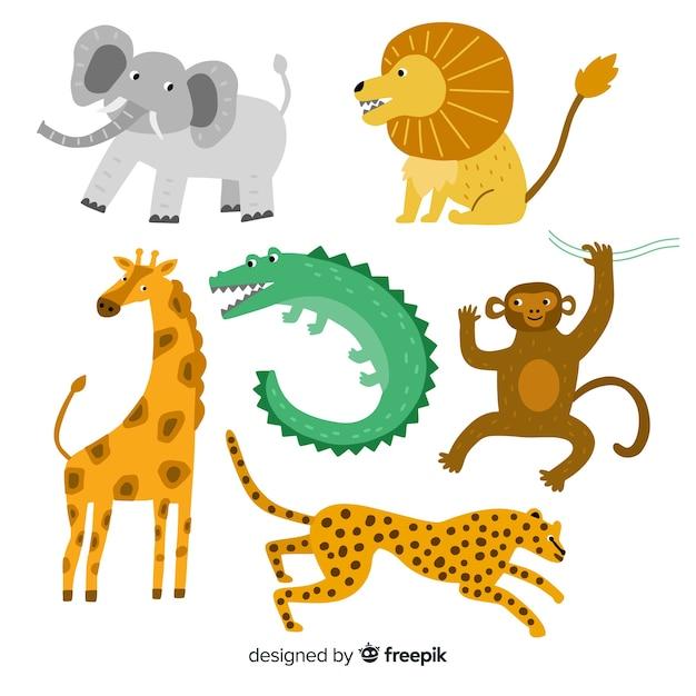 Leuke verzameling wilde dieren op plat ontwerp Gratis Vector