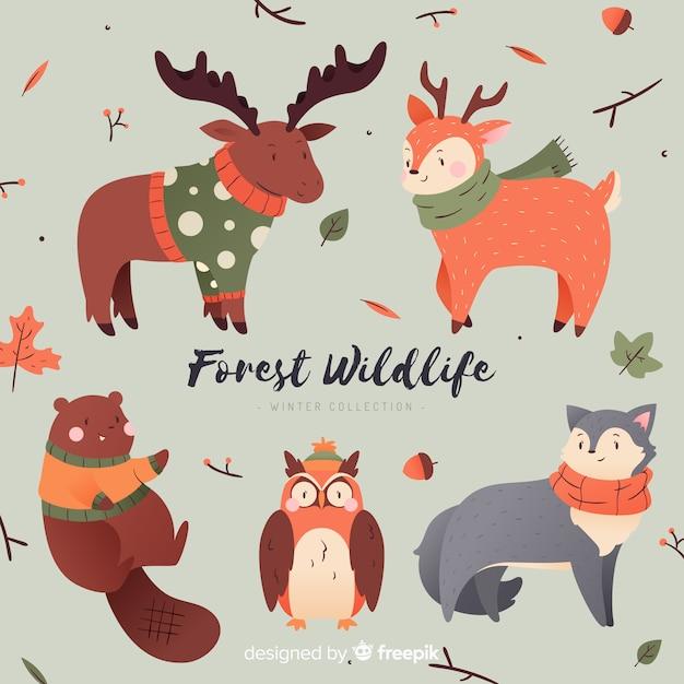 Leuke verzameling winterdieren Gratis Vector