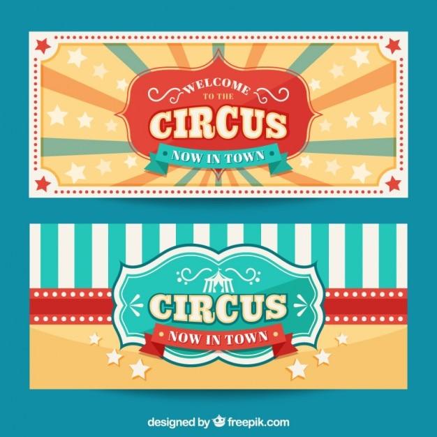 Leuke vintage circus banners Gratis Vector