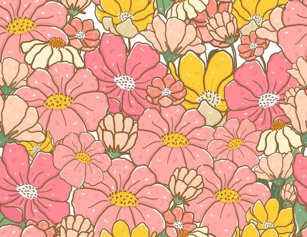 Leuke vintage pastel kleur doodle bloem patroon naadloze achtergrond Premium Vector