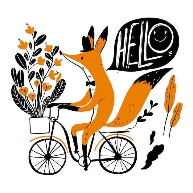 Leuke vos die een fiets berijdt, inzameling van getrokken hand. Premium Vector
