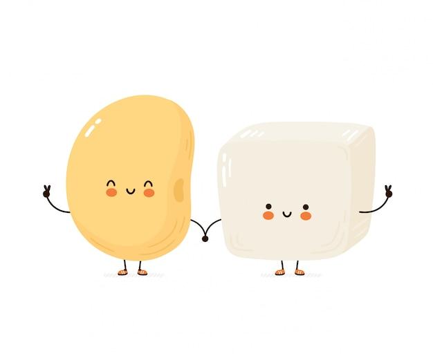 Leuke vrolijke grappige tofu en sojaboon. cartoon karakter hand tekenen stijl illustratie. geïsoleerd op een witte achtergrond Premium Vector
