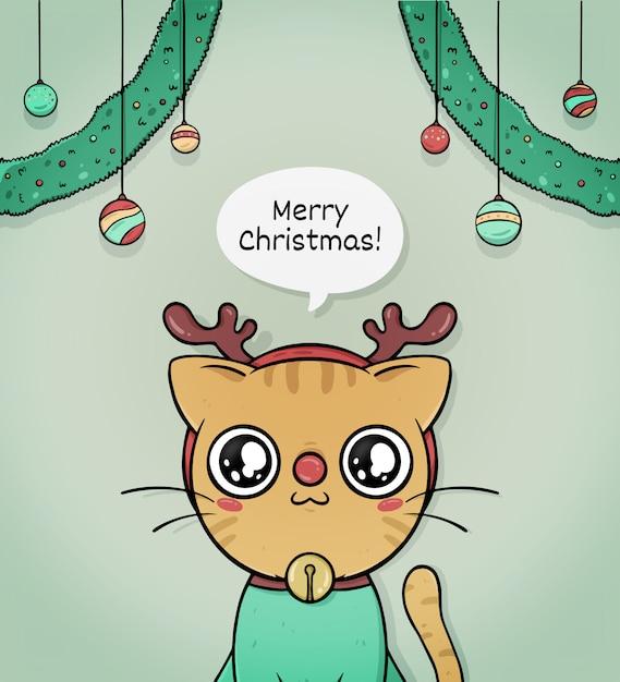 Leuke vrolijke kerstgroetkaart met kattenrendier Gratis Vector