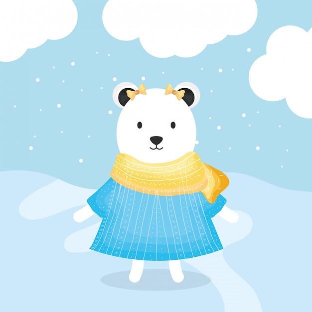 Leuke vrouwelijke beer polar met kleding karakter Premium Vector