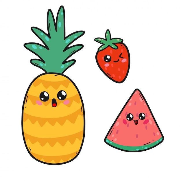Leuke vruchten in kawaiistijl in japan. gelukkige aardbei, watermeloen en ananasbeeldverhaalkarakters met grappige geïsoleerde gezichten Premium Vector