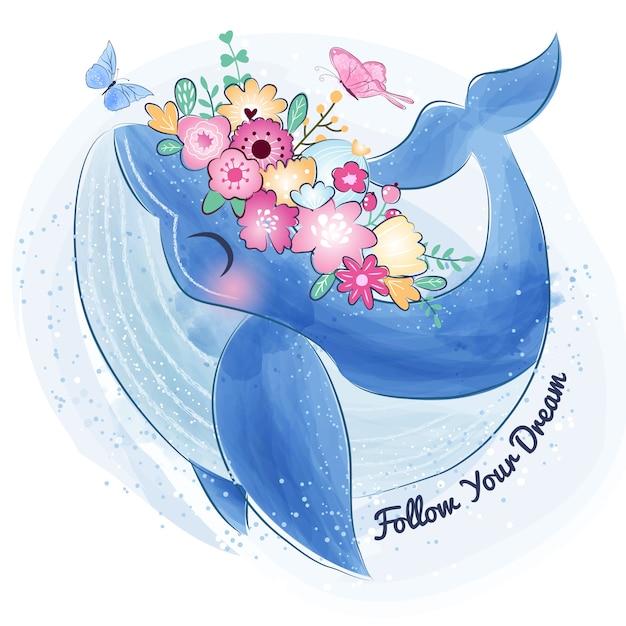Leuke walvis met bloem Premium Vector