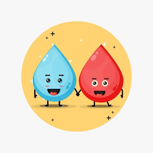 Leuke water en bloed mascotte hand in hand Premium Vector