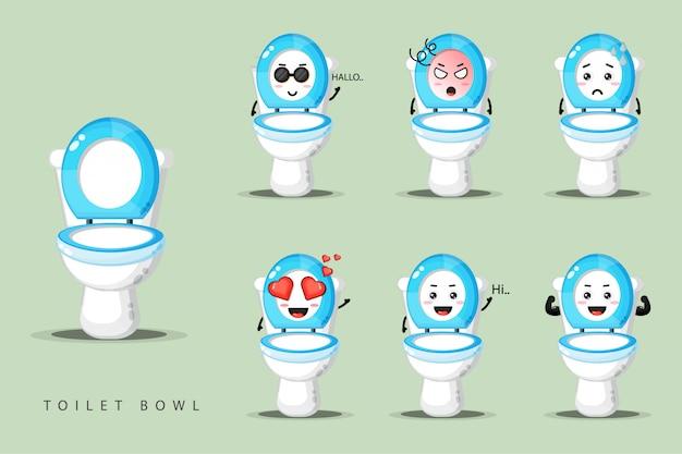 Leuke wc-pot mascotte set Premium Vector