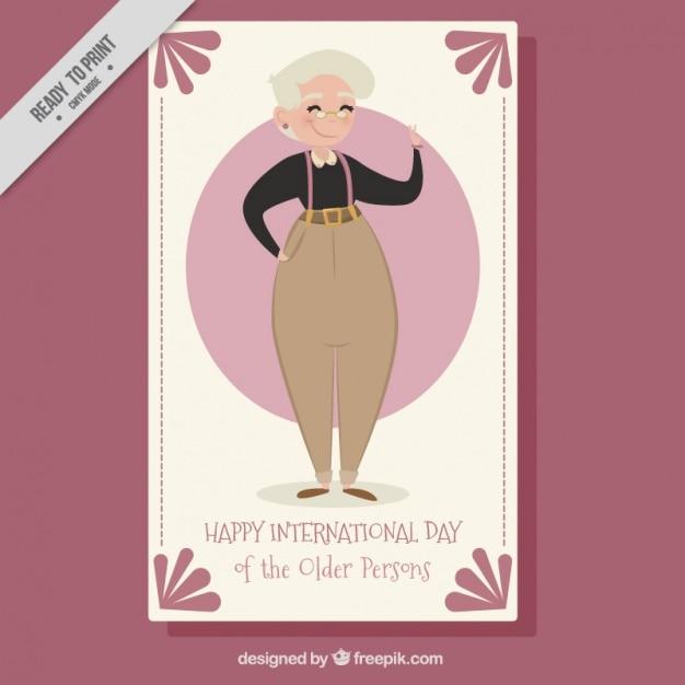 Leuke wenskaart internationale dag van de ouderen Gratis Vector