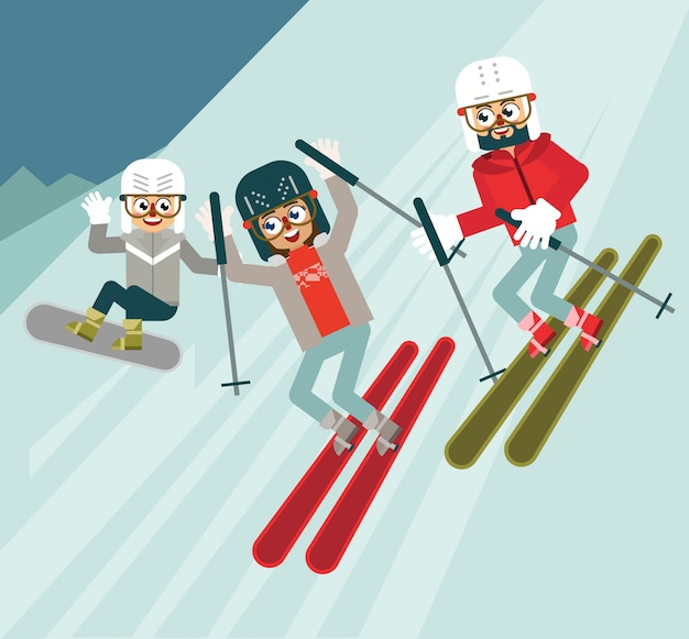 Leuke wintersport Premium Vector