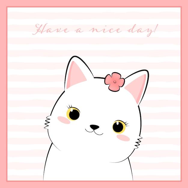 Leuke witte kat kitten cartoon doodle in roze frame Premium Vector