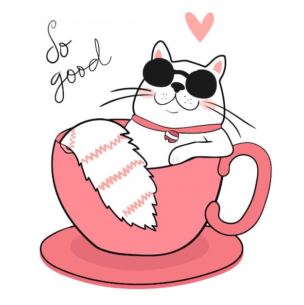 Leuke witte vette kat met zonglazen die in een koffiekop slapen Premium Vector