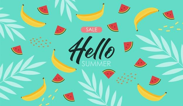 Leuke zomerelementen, tropische banner Premium Vector