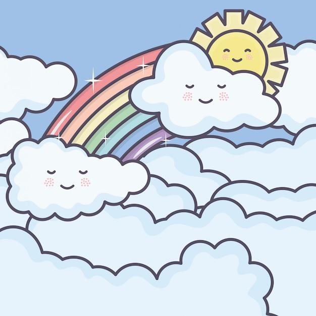 Leuke zomerzon en wolken met regenboog kawaii karakters Gratis Vector