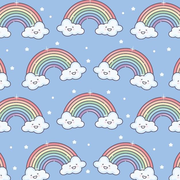 Leuke zomerzon en wolken met regenboog kawaii patroon Gratis Vector