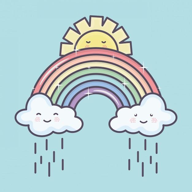 Leuke zomerzon en wolken regenachtig met regenboog kawaii karakters Gratis Vector