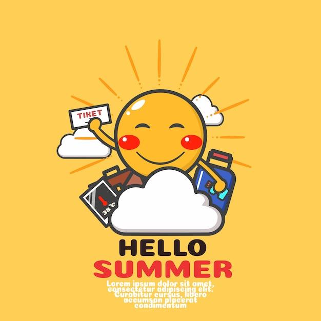 Leuke zon cartoon vector. fijne zomervakantie. Premium Vector