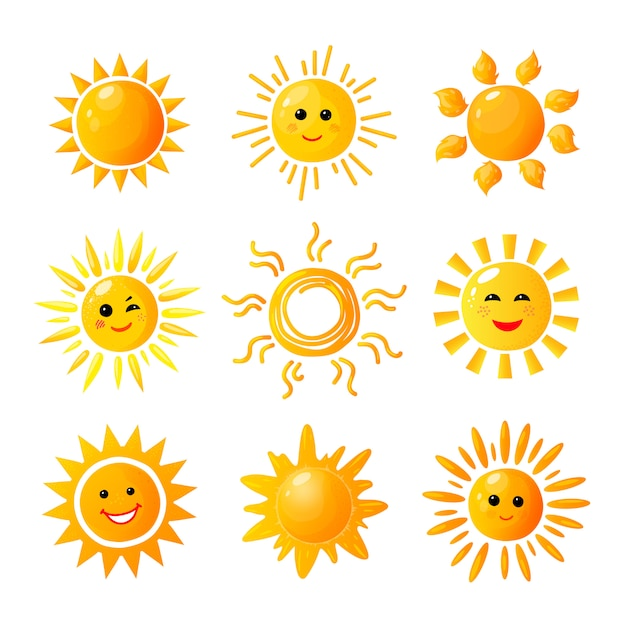 Leuke zon. hand getrokken zonneschijn. zomerochtend zonsopgang. doodle opwarming vreugde pictogrammen Premium Vector