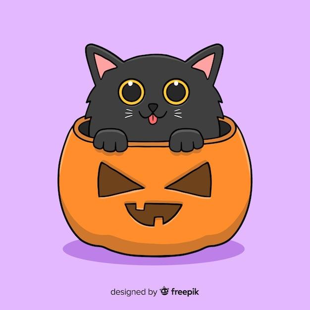 Leuke zwarte kitty halloween hand getrokken Gratis Vector