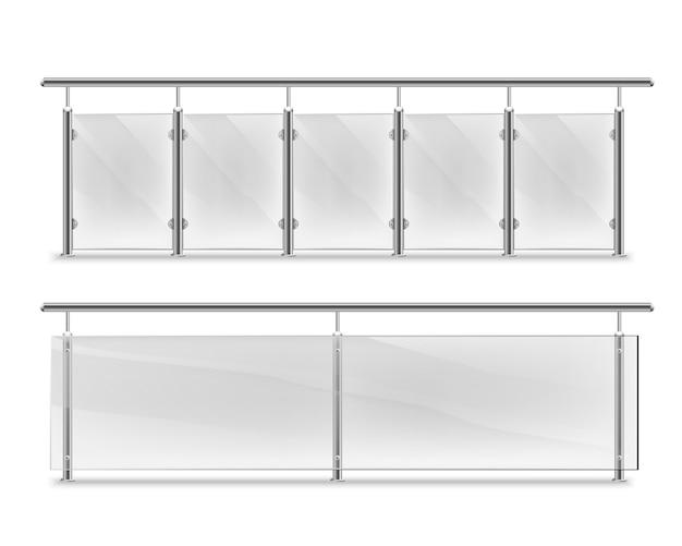Leuningen met glas voor reclame. glazen balustrade met metalen leuningen. hekwerksecties met stalen pilaren. panelen balusters voor architectuur of build Premium Vector