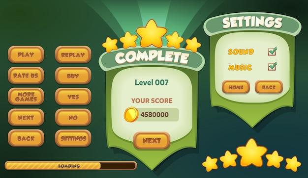 Level complete pause en instellingen menu scene verschijnt met geluid muziek en knoppen Premium Vector
