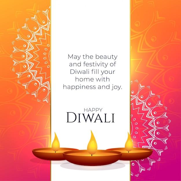 Levendig diwali-groetontwerp met mandaladecoratie Gratis Vector