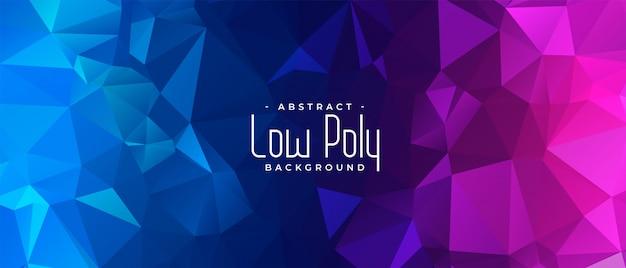 Levendige blauwe en roze laag poly abstracte banner Gratis Vector