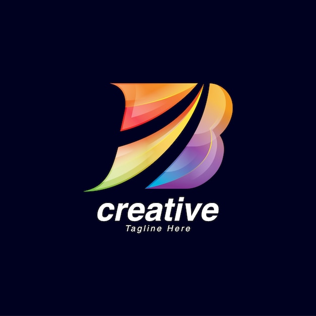 Levendige creatieve letter b logo ontwerpsjabloon Premium Vector