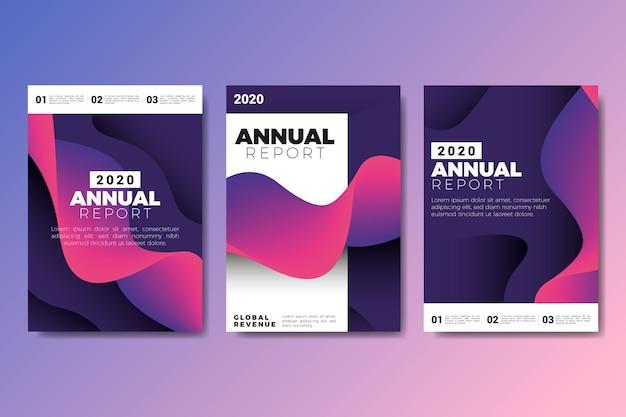 Levendige kleuren violet en zwart jaarverslag sjabloon Gratis Vector