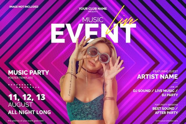 Levendige muziek evenement poster sjabloon met abstracte vormen Gratis Vector