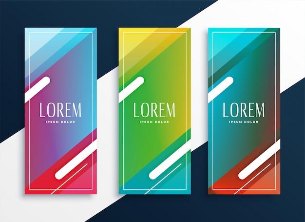 Levendige reeks verticale banners die in geometrische stijl worden geplaatst Gratis Vector