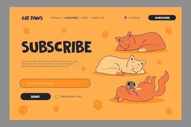 Levendige sjabloon voor e-mailabonnementen met lieve katten. online nieuwsbriefsjabloon met slapende of spelende kittens. Gratis Vector