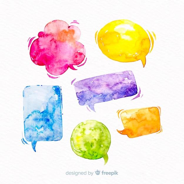 Levendige watergekleurde tekstballonnen mix Gratis Vector
