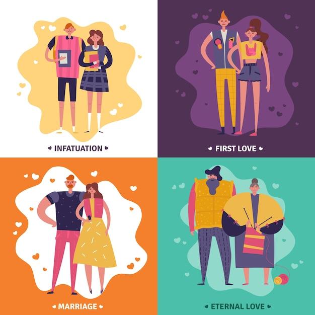 Levenscycli van man en vrouw concept ontwerpset van verliefdheid eerste liefde huwelijk en eeuwige liefde vierkante pictogrammen Gratis Vector