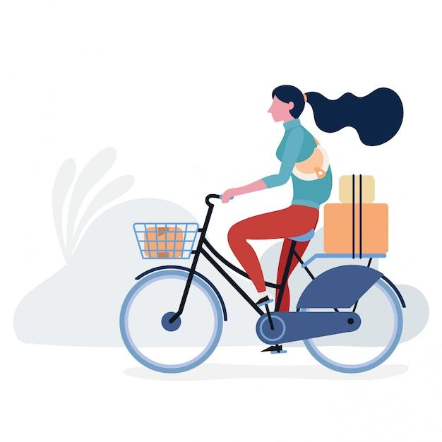 Levensstijl tiener met het ontwerp van de fietsillustratie Premium Vector