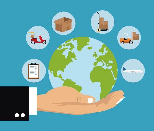 Levering concept hand houdt globe scheepvaart vracht Premium Vector