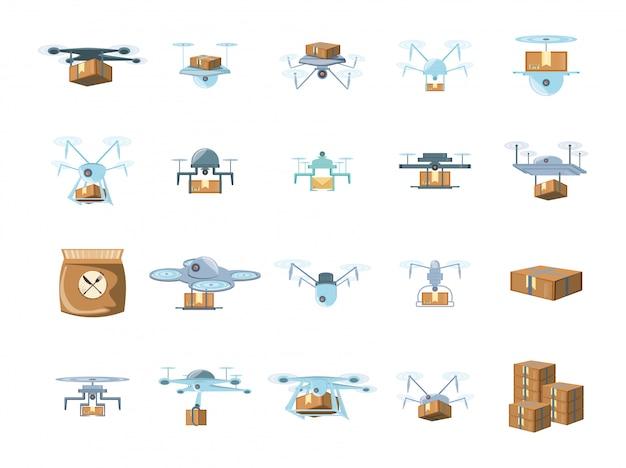 Levering drones icon set Premium Vector