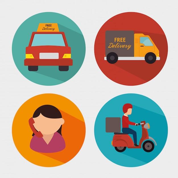 Levering en logistieke activiteiten Premium Vector