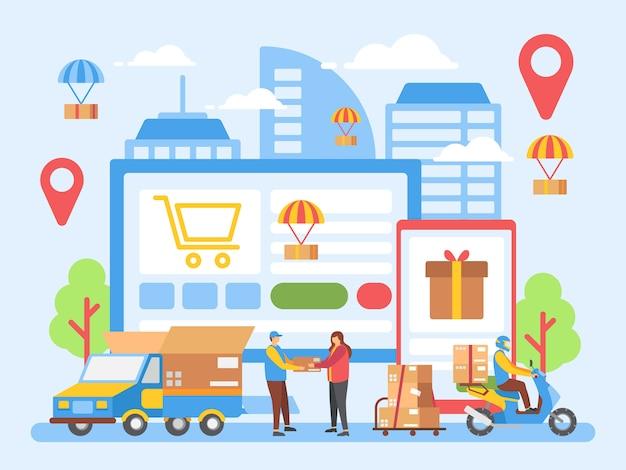 Levering, logistiek, online winkel illustratie Premium Vector