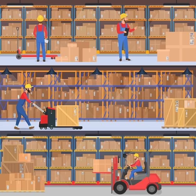 Levering, magazijn, vrachtvervoer bedrijf interieur. magazijn- of fabrieksarbeiders met laadapparatuur Premium Vector