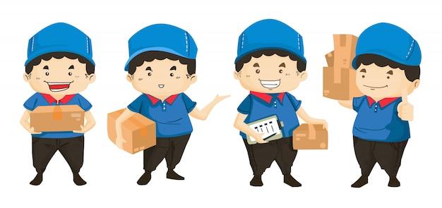 Levering man in blauwe uniform houden vakken en documenten in verschillende poses Premium Vector