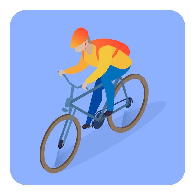 Levering man op fiets isometrische illustratie Premium Vector