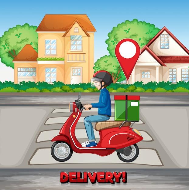 Levering man rijden in de stad met levering logo Gratis Vector